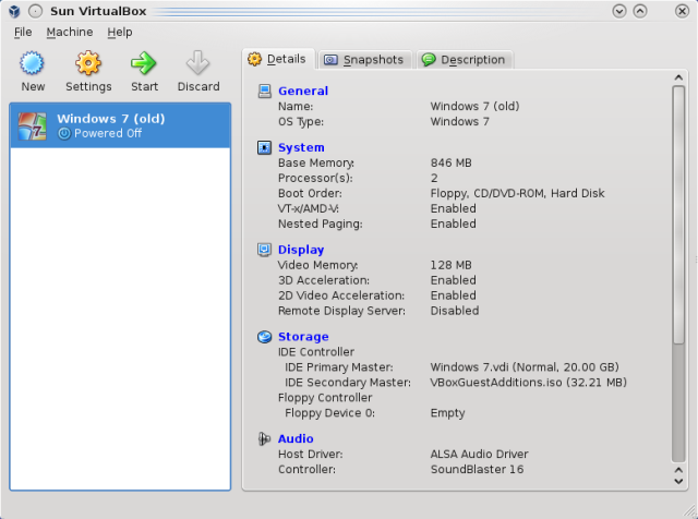 VirtualBox initial screen